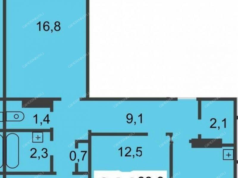 трёхкомнатная квартира на улице Тонкинская дом 12