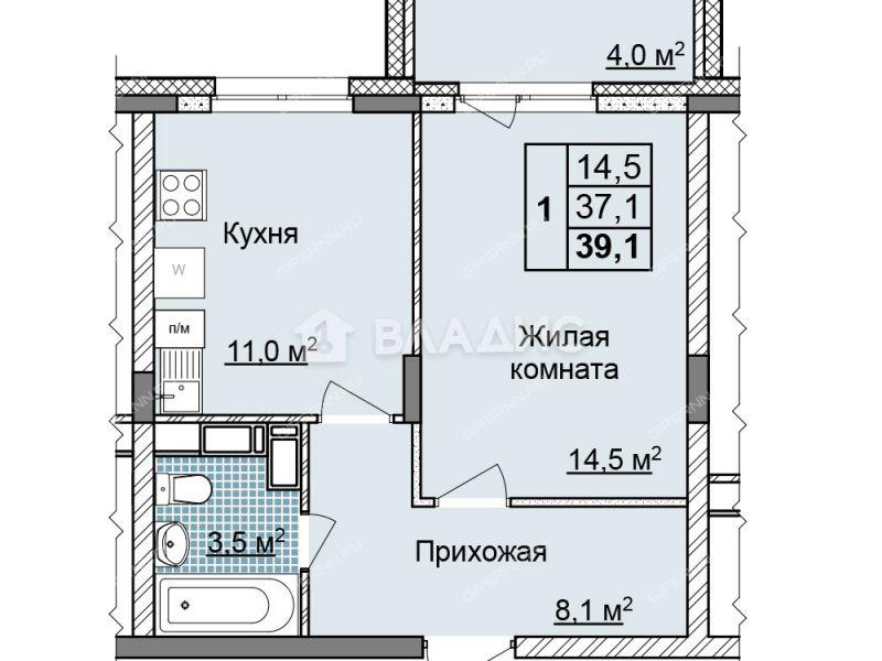 однокомнатная квартира на улице Цветочная