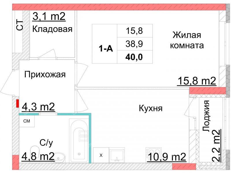однокомнатная квартира в новостройке на улице Глеба Успенского